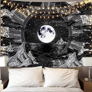 Moon Stars and Clouds Tapestry